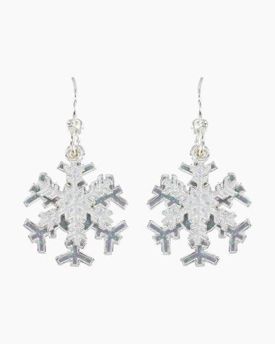 Layered Glitter Snowflake Drop Earrings
