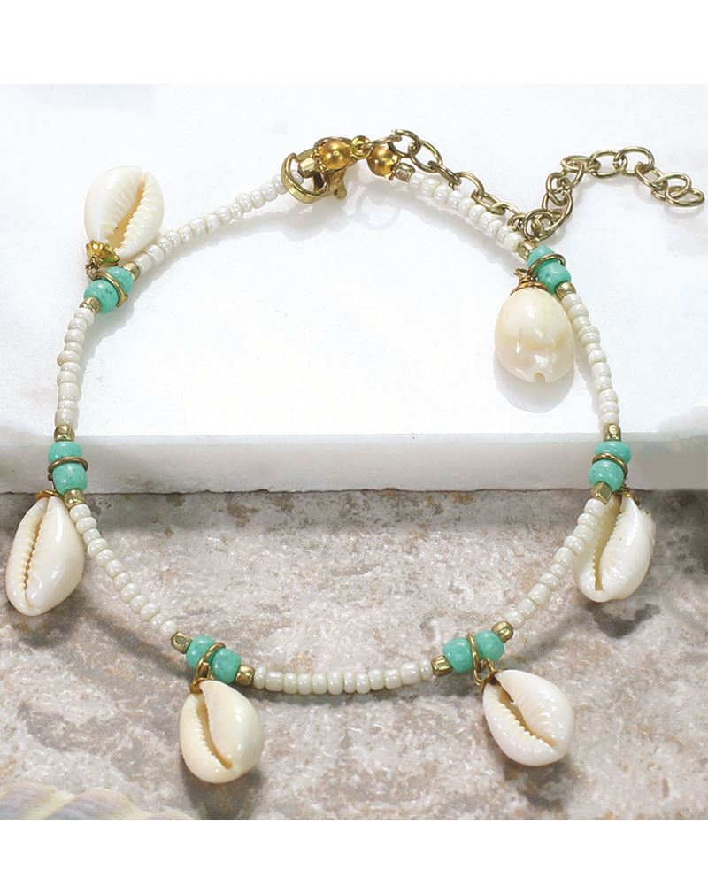 Seed Bead Anklet Cowrie Shell Beaded Anklet Shell Charm Ankle Bracelet Seed Bead Ankle Bracelet