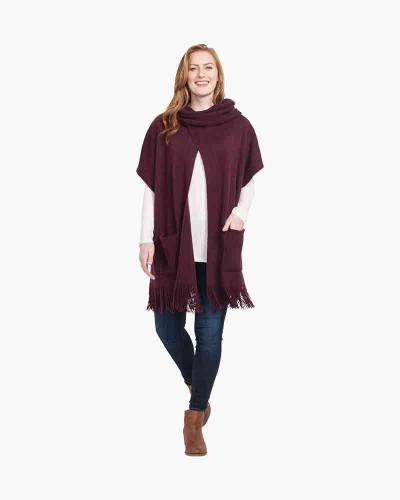 Cowl Neck Poncho in Burgundy