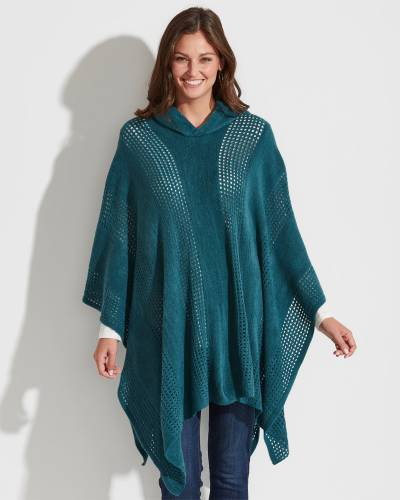 Exclusive Open Weave Hooded Poncho