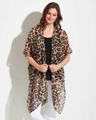 Leopard Print Kimono in Brown