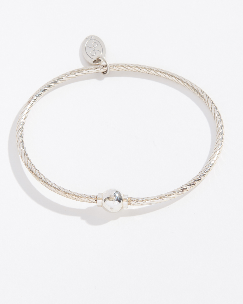 LeStage Single Ball Textured Sterling Silver Cape Cod Jewelry Collection Bracelet