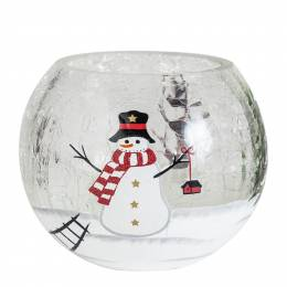 Biedermann and Sons Snowman Crackle Votive Candle Holder