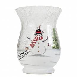 Biedermann and Sons Snowman Crackle Hurricane Candle Holder