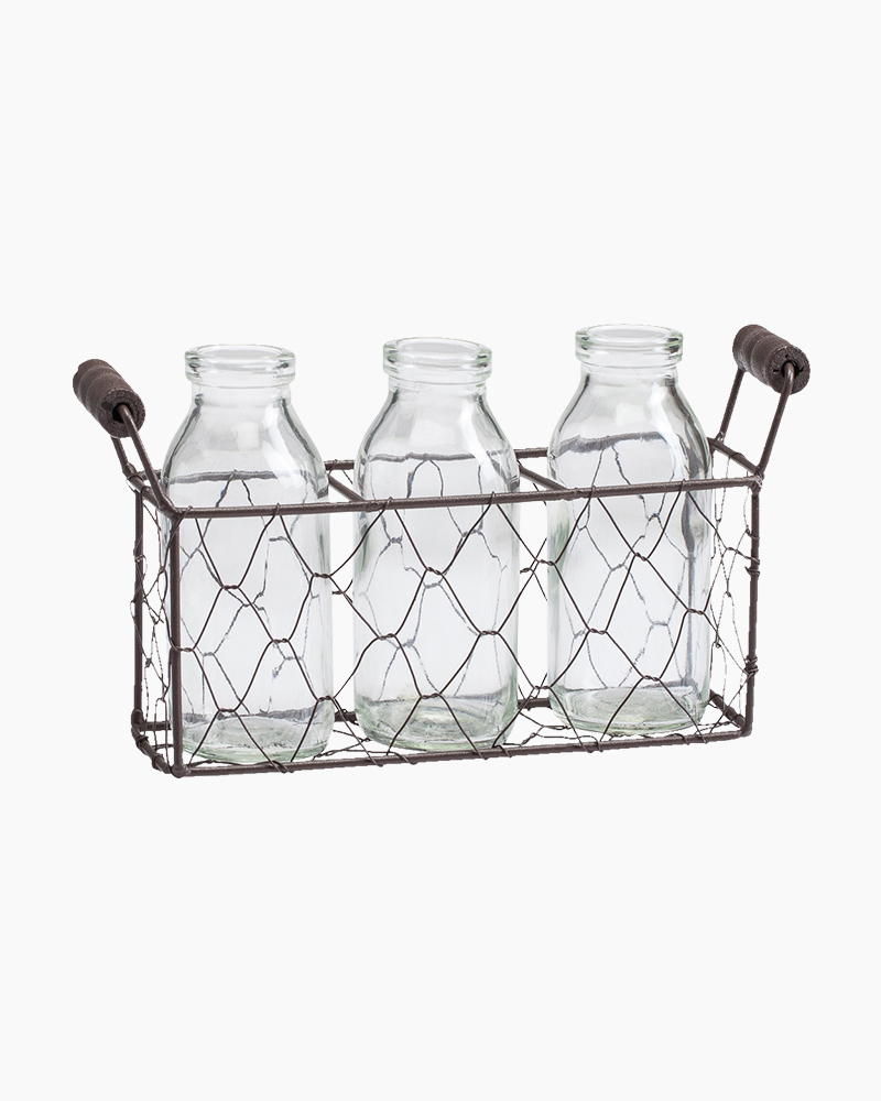 Blossom Bucket Three Bottles and Wire Basket Set