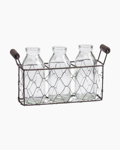 Three Bottles and Wire Basket Set