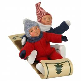 Byers Choice Two Toddlers on Toboggan Carolers Figurine
