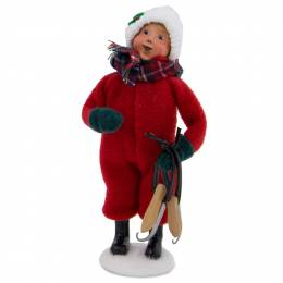 Byers' Choice Snow Day Kid with Skates Carolers Figurine