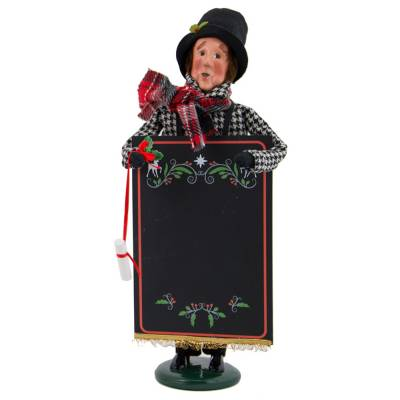 Man with Chalkboard Carolers Figurine