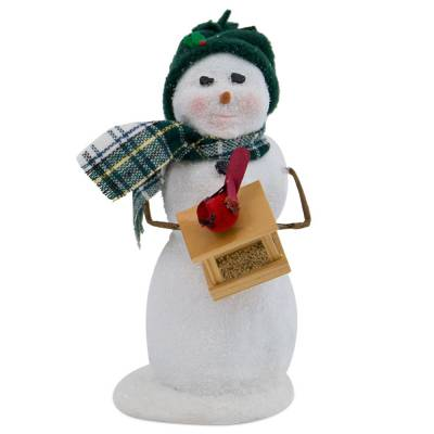Snowman with Bird Feeder Figurine