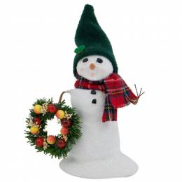 Byers' Choice Small Snowman with Wreath Figurine