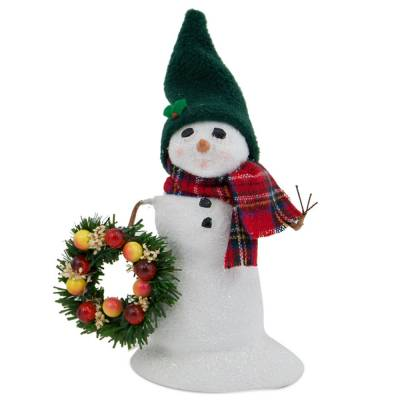 Small Snowman with Wreath Figurine