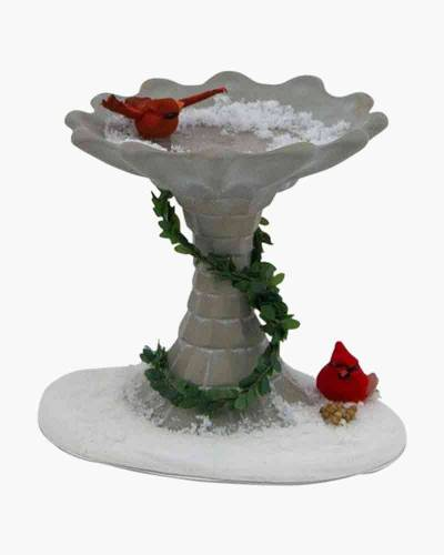 Bird Bath with Cardinals Figurine
