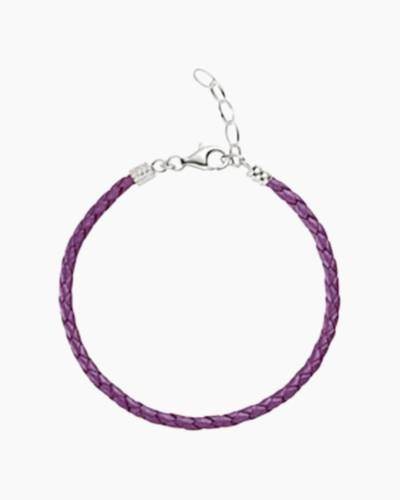 Purple Braided Leather Bracelet