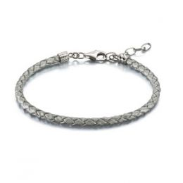 Chamilia Silver Metallic Braided Leather Bracelet