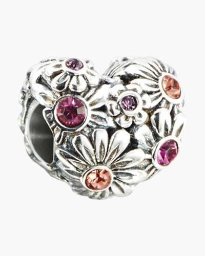 Zinnia Floral Heart Charm