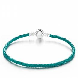 Chamilia Teal Braided Snap Closure Leather Bracelet