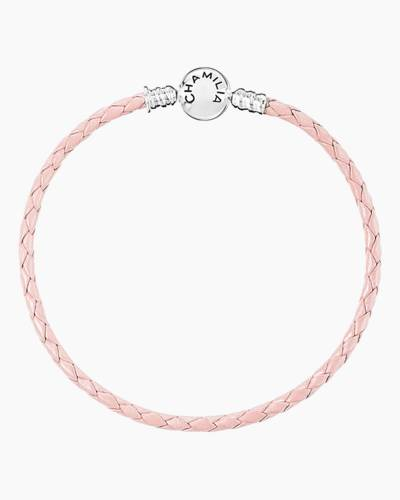 Blush Braided Leather Bracelet