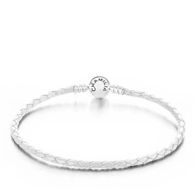 Braided Snap Closure Leather Bracelet in White