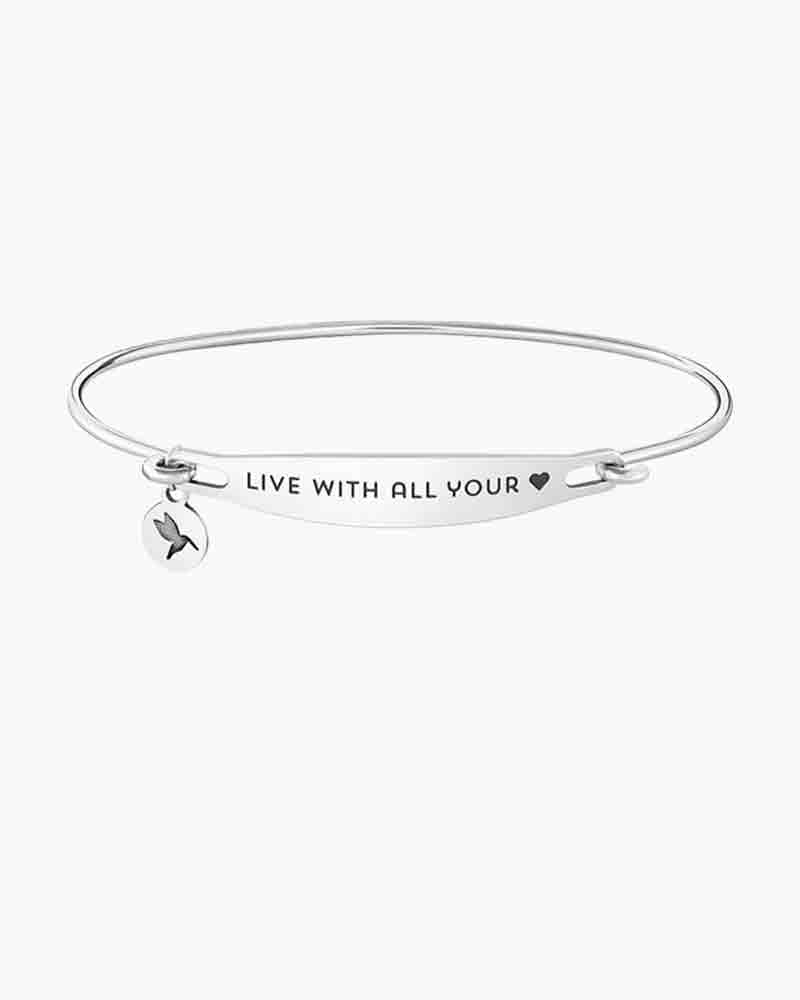 Chamilia Live With All Your Heart Spoken ID Bangle in Silver