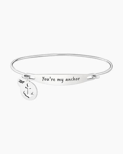 You're My Anchor Spoken ID Bangle in Silver