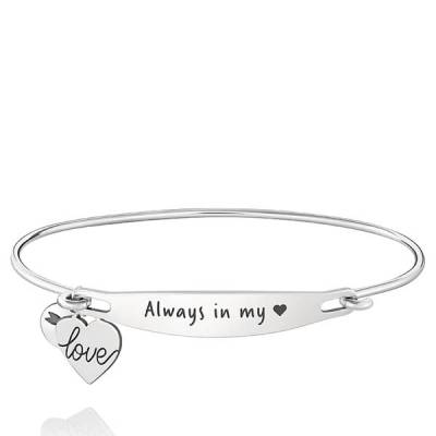 Always in My Heart Spoken ID Bangle in Silver