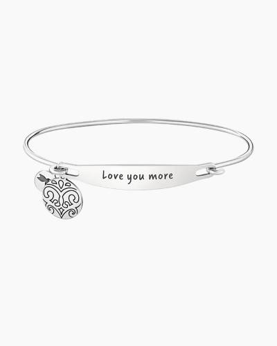 Love You More Spoken ID Bangle in Silver