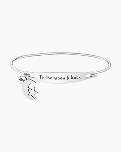 To the Moon and Back Spoken ID Bangle in Silver