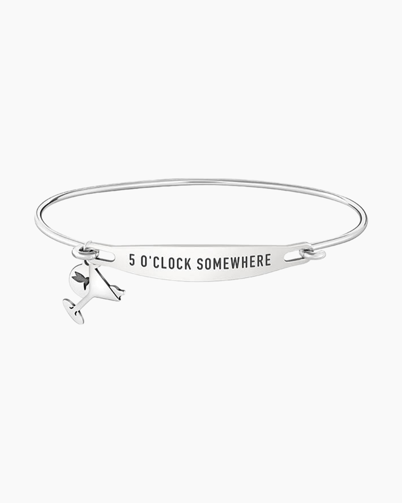 Chamilia 5 O'clock Somewhere Spoken ID Bangle in Silver