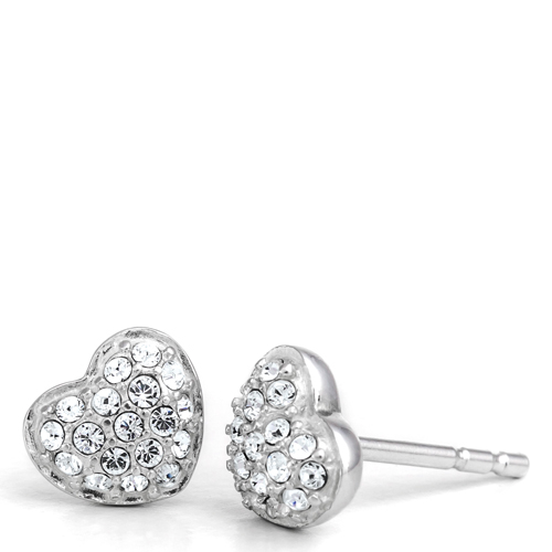 Chamilia Exclusive Heart Stud Earrings in Clear Crystal