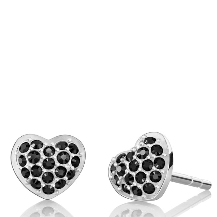 Chamilia Exclusive Heart Stud Earrings in Hematite Crystal
