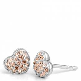 Chamilia Exclusive Heart Stud Earrings in Rose Gold Crystal