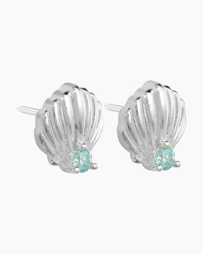 Sparkling Shell Stud Earrings