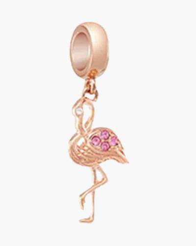 Flamingo Dance Hanging Charm in Rose Gold