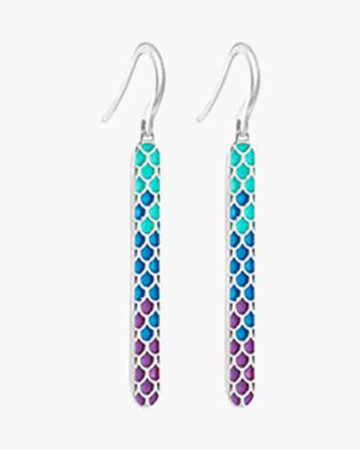 Mermaid Scales Drop Bar Earrings