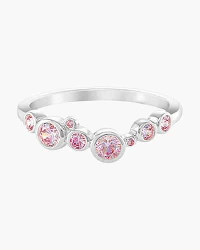 Ocean Waves Ring with Pink Swarovski Crystals