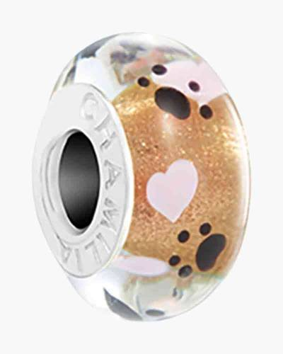 Paw Print Murano Glass Charm