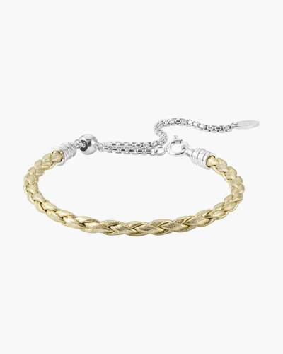 Adjustable Braided Leather Bracelet in Metallic Gold