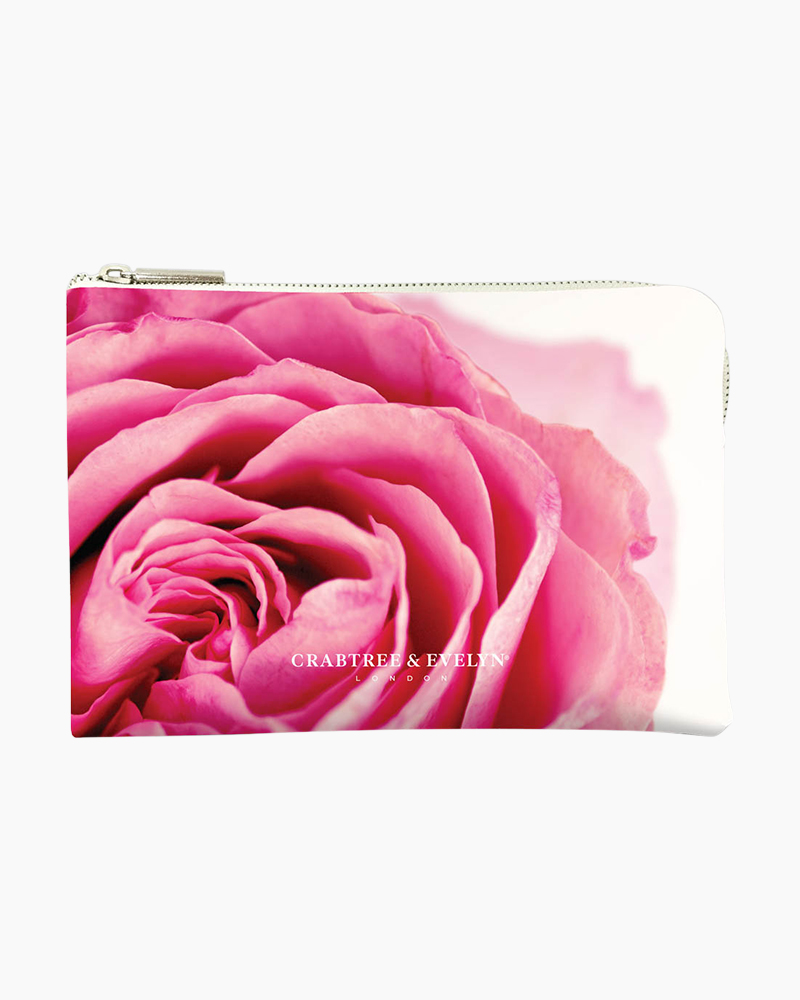 Crabtree & Evelyn Pink Rose Cosmetic and Makeup Bag
