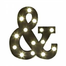 Creative Co-Op Metal Ampersand LED Lamp