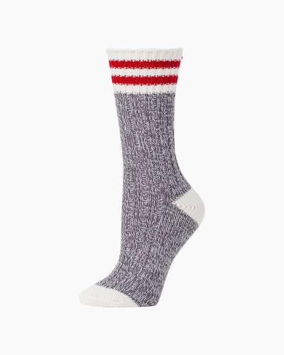 Ragg Crew Socks in Charcoal Rugby Stripes