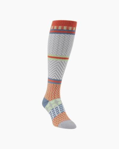 Gallery Knee High Socks in Peaceful Orange and Blue