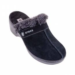 Crocs Women's Black Cobbler Fuzz Lined Clog