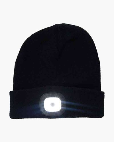 Rechargeable LED Beanie Cap in Black