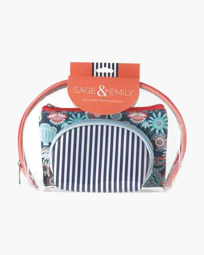 First Glance 3-Piece Cosmetics Case Set in Coral