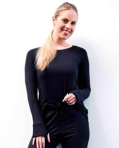 The Weekender Raglan Sleeve Top in Black