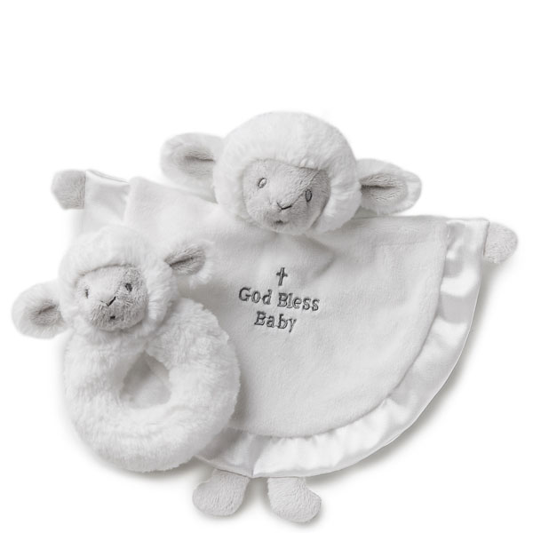 Nat & Jules God Bless Baby Lamb Blankie and Rattle Set