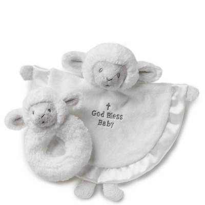 God Bless Baby Lamb Blankie and Rattle Set