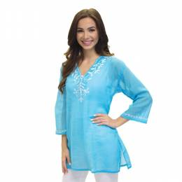 Dennis East Aqua Embroidered V-Neck Tunic