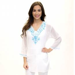 Dennis East White Embroidered V-Neck Tunic
